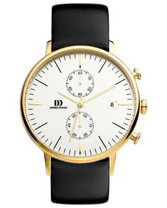 The Danish Design IQ11Q975 Chronograph watch in gold finish has a stainless steel case, matte silver dial with gold hour, minute and second hands.