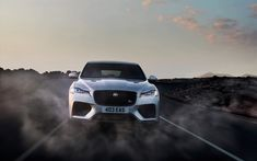 Download wallpapers Jaguar F-Pace SVR, 2019, front view, exterior, luxury sport SUV, new silver F-Pace, tuning, British cars, Jaguar