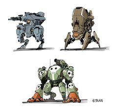- who doesn't love a good robot? I like the overall shape and how cutesy they get Cyberpunk, Robot Concept Art, Weapon Concept Art, Rc Chassis, Character Concept, Character Art, Robots Drawing, Arte Indie, Robots Characters
