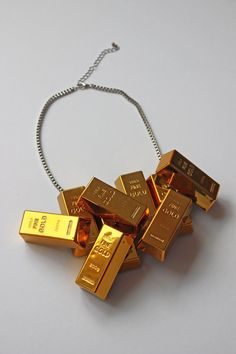 Necklace Golddigger Goldbars Gold Statement Necklace Accessoires Jewelry