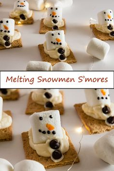 Melting snowmen s'mores are a fun take on melting snowmen cookies that make them a perfect treat for a Christmas in July party or Christmas in warm weather. Summer Christmas, Christmas Crafts For Kids, Christmas Desserts, Christmas Cookies, Christmas Foods, Christmas Treats, Christmas Baking, Family Christmas, Christmas Recipes