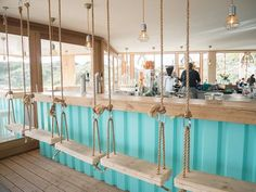 restaurant outdoor Restaurant GESTRAND in the Dunes of Bloemendaal. Interior design by KRAAN Decoration Restaurant, Deco Restaurant, Outdoor Restaurant, Seafood Restaurant, Modern Restaurant, Surf Cafe, Beach Cafe, Coffee Shop Design, Cafe Design
