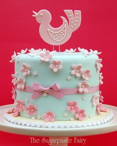 This would be good for a gender neutral shower because of the blue cake with pink decorations