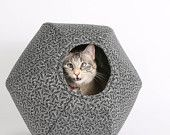 The Cat Ball a Cave Style Cat Bed made in Grey Calico Fabric Victorian Seeds