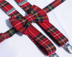 Royal Stewart Tartan Bow Tie Holiday Red Plaid by dolldressedup