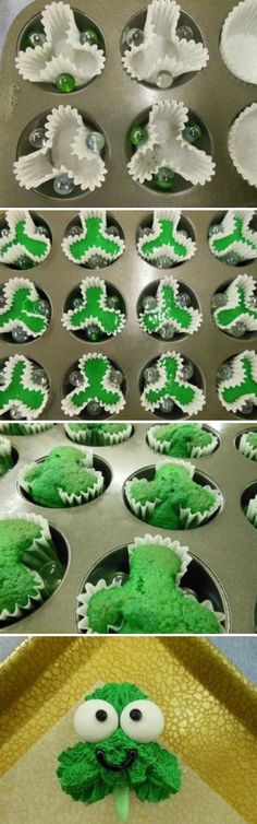 How To Make Shamrock Cupcakes ~ There's no need for a shamrock-shaped cupcake tin... use a regular cupcake tin and a few marbles!