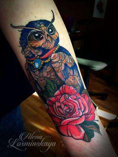 Алена Лосминская #tattoo #tattoomystery #татуировка #тату #калуга #сова #роза