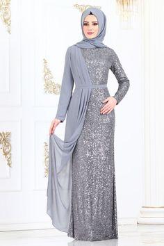 Modaselvim ABİYE Şifon Detay Pul Payet Abiye 2155MS212 Gümüş Hijab Evening Dress, Hijab Dress Party, Hijab Style Dress, Modest Fashion Hijab, Abaya Fashion, Fashion Dresses, Estilo Abaya, Morrocan Dress, Dress Pesta