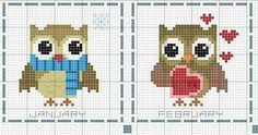 Cross Stitch Owl, Small Cross Stitch, Cross Stitch Borders, Cross Stitch Animals, Cross Stitch Designs, Cross Stitching, Cross Stitch Embroidery, Cross Stitch Patterns, Blackwork