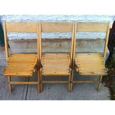Image of Vintage Wood Folding Chairs - Set of 6