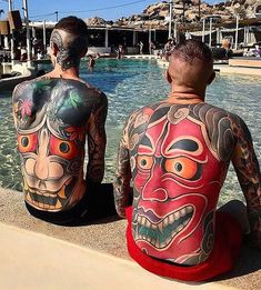 Don't Just Sit There! Start Getting More Japanese Tattoos Back Piece Tattoo Men, Neck Tattoo For Guys, Tattoos For Guys, Full Body Tattoo, Body Art Tattoos, Tribal Tattoos, Tatoos, Japanese Mask Tattoo, Japanese Sleeve Tattoos