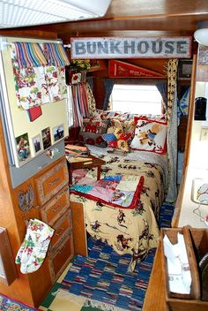 Inside the camper of a Sister on the Fly.  Western, country, and vintage  themes are popular