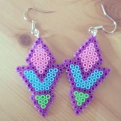 Earrings perler beads by l_a_u__r_a