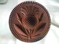 3.5in across x 3.125in tall (handle). Very Fine Early Carved PINEAPPLE Wooden Butter Mold Print Stamp Wood Treen NR!