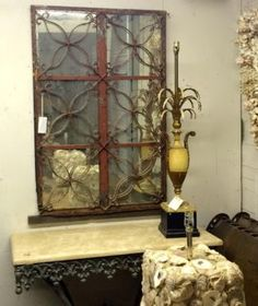 """Cement Casement Mirror   47"""" High x 31"""" Wide   $795  Parkhouse Antiques  114 Parkhouse  Dallas, TX 75207  Call for appointment.  Like us on Facebook: https://www.facebook.com/pages/Parkhou"""