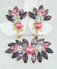 Beautiful Vintage Rhinestone Brooch and Earring Set Signed ALICE CAVINESS