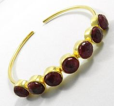 charm hot fashion Dyed Ruby Corundum gemstone brass adjustable bangle jewellery #Magicalcollection #Bangle