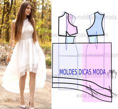 Vestido branco assimetrico - Moldes Moda por Medida