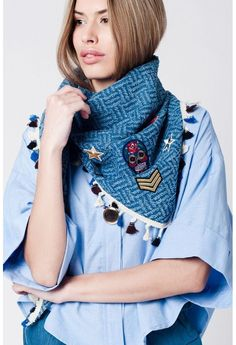 Blue scarf with patches and fringes detailing