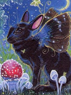 Rabbit Fairy ACEO Art Print Hand Embellished