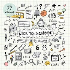 Hand Drawn School Clip Art/Education Elements and Symbols/Kids Clipart/Doodle Collection/Editable Ve - sketchnotes - Doodle Drawings, Doodle Art, Doodle Sketch, Sketch Drawing, Doodle Kids, Doodle Frames, Chalk Drawings, Notebook Doodles, Planner Doodles
