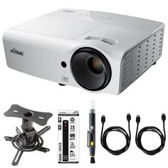 Vivitek 3000-Lumen 3D HDMI Portable DLP Projector (D554) with Mustang Projector Mount, Xtreme 6 Outlet Power Strip, 2x General Brand HDMI to HDMI Cable 6' & Xit Lens Cleaning Pen