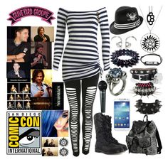 """""""San Diego Comic Con With Jared and Jensen"""" by digital-minerva ❤ liked on Polyvore featuring Dr. Martens, Miss Selfridge, Arden B., 2 Di Picche Recycled, Alexander McQueen, Gisele Ganne, Samsung, Kreepsville 666 and jared"""