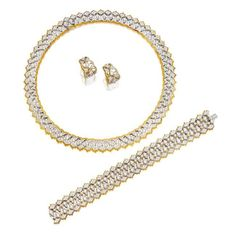 Diamond necklace, bracelet ans pair of matching ear clips, Federico Buccellati. The articulated necklace of openwork design, decorated by brilliant-cut diamonds, length approximately 380mm; a pair of matching earrings, clip fittings, and bracelet en suite; the diamonds altogether weighing approximately 12.20 carats, mounted in 18 karat white and yellow gold; en suie, length approximately 175mm; the diamonds signed.$620,000.00