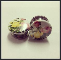 Vintage Rose Ear Plugs. So cute! I hate being allergic to most metals