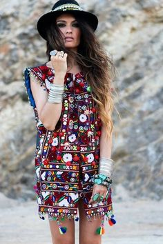 Madame de Rosa, mini dress and jewelry. so crazy and colorful, love it.