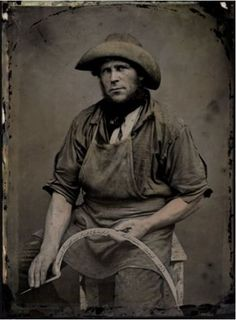 "Occupaiton. Tintype portrait of a farmer with his sickle, handwritten on the sickle's blade: ""Samuel Renshaw, Sicklegrinder Ridgeway, August 1857"" via the San Francisco Museum of Modern Art"