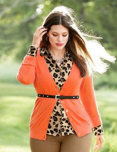 orange cardigan and animal print. Perfect for an hourglass shape. really compliments.