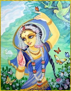 """✨ SHRI RADHA ✨  """"O goddess whose form is as splendid as champaka flowers, gold, and lightning, O goddess whose face eclipses millions of autumn moons, O goddess whose eyes are wonderful, restless young chakora birds, when will You cast Your merciful..."""