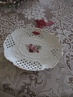 Baum Brothers Formalities Porcelain Victorian Rose Cutwork Pierced Plate by LikeNewShop on Etsy Cutwork, Decorative Plates, Porcelain, Victorian, China, Unique Jewelry, Handmade Gifts, Rose, Tableware