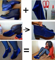 oh em gee. must have blue velvet booties. might have to go to the thrift store this weekend.
