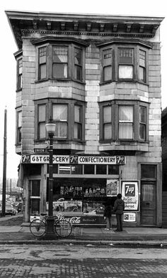 pasttensevancouver: 478 Union Street, ca. 1972 Note the exposed wood paving stones from the olden days. Source: Photo by Art Grice, City of Vancouver Archives The Filmore, Vancouver City, Old Country Stores, New West, O Canada, Urban Life, Slums, Most Beautiful Cities, Local History