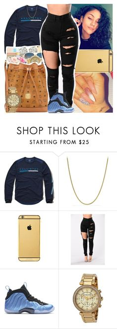 """""""Untitled #1572"""" by msixo ❤ liked on Polyvore featuring Hollister Co., David Yurman, Goldgenie, NIKE and Michael Kors"""