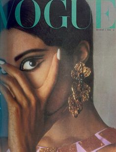 March 1966  Donyale Luna becomes the first cover model of ethnic origin for Vogue, for an issue entitled Eye on the International Collections. The big fashion statements in the shoots sum up the style mood of the day: huge eyelashes, candy coloured tunic dresses (Jean Patou), long chiffon dresses by Cardin, plastic diamond dresses by Pierre Cardin and thick crochet tights.