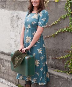 This Teal Floral A-Line Dress - Women is perfect! #zulilyfinds