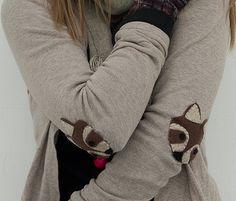 DIY raccoon elbow patches  -  Manualidades: coderas de mapache