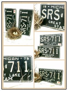 2 Matching License Plate ,Pair, Michigan, Gift under 35, SRS, 1970s, Great Lakes, Photo Prop, Man Cave, Auto, Old Numbers, Industrial, sign by beachbabyblues on Etsy https://www.etsy.com/listing/161509837/2-matching-license-plate-pair-michigan