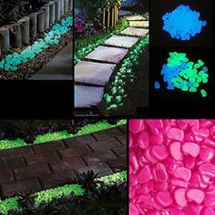DDU(TM) 100pcs Blue- Glow in the Dark Noctilucent Pebbles Stones Garden Yard Walkway Fish Tank Ornaments Decorations - Glowy Shit