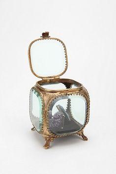 Vintage Jewelry Box Casket 24k Gold Plated Filigree Vanity Beveled