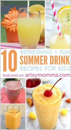 Refreshing Summer Drink Recipes for Kids - homemade lemonade, slushies, smoothies, & more!