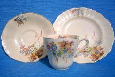 SCARCE VINTAGE Ca 1940's J & G MEAKIN SUNSHINE/SOL DECORATIVE EARTHENWARE TRIO Vintage China, Earthenware, Tea Cups, Sunshine, Porcelain, England, Pottery, Australia, Ceramics