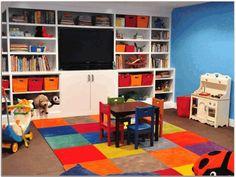 Basement Playroom Ideas Striped Floor
