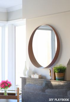 Round Mirror Over Fireplace Ideas You Can Try At Your Home - above fireplace ideas Above Fireplace Ideas, Mirror Above Fireplace, Fireplace Mantle, Living Room Mirrors, Living Room Decor, Interior Design Principles, Ikea Mirror, Overmantle Mirror, Modern Spaces