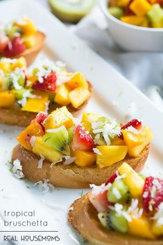 Topical Bruschetta is a refreshing fruity twist on the classic bruschetta and takes just minutes to throw together!