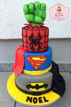 Superhero cake Superman, Batman, Spiderman and Hulk