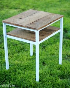 upcycled industrial farmhouse accent table - KnickofTime.net